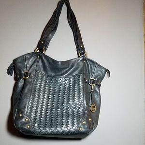 Audrey Brooke Black LEATHER SHOULDR  BAG